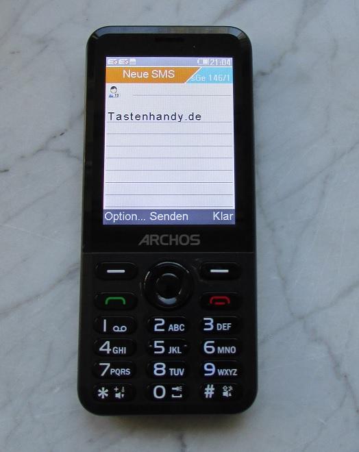 Eine SMS Textnachricht auf dem Archos Tastenhandy schreiben geht am besten ohne automatische Worterkennung