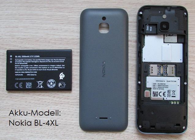 Das Bild zeigt den Akku, den Akkudeckel und die Rückseite des Nokia 6300 4G.